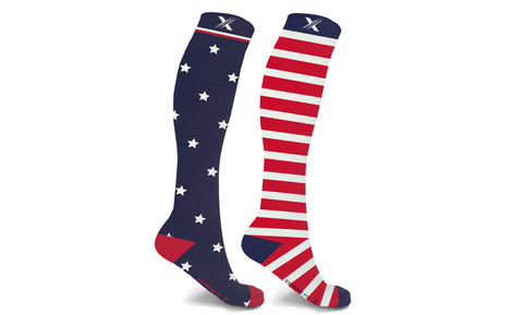 XTF Mismatched Flag Knee High Compression Socks (1-Pair)