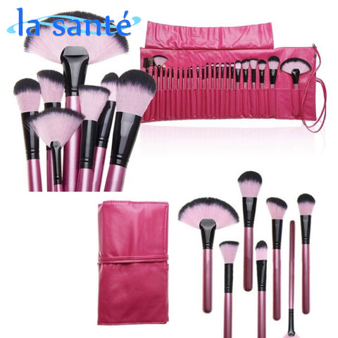 24-Piece : Hot Pink Makeup Brush Set with Carrying Case