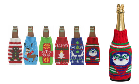 Ugly Holiday Sweater Beer Bottle Koozies (6-Pack)