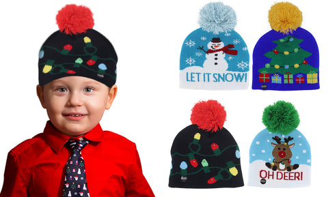 LED  Holiday Fun Beanie for Kids