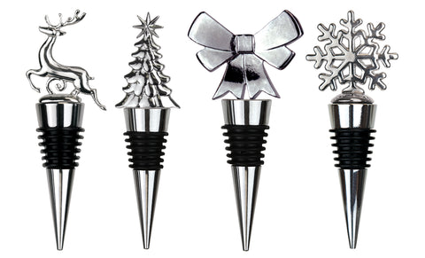 Gift boxed Stainless Steel Christmas Fun Wine and Beverage Bottle Stopper (4-Pack)