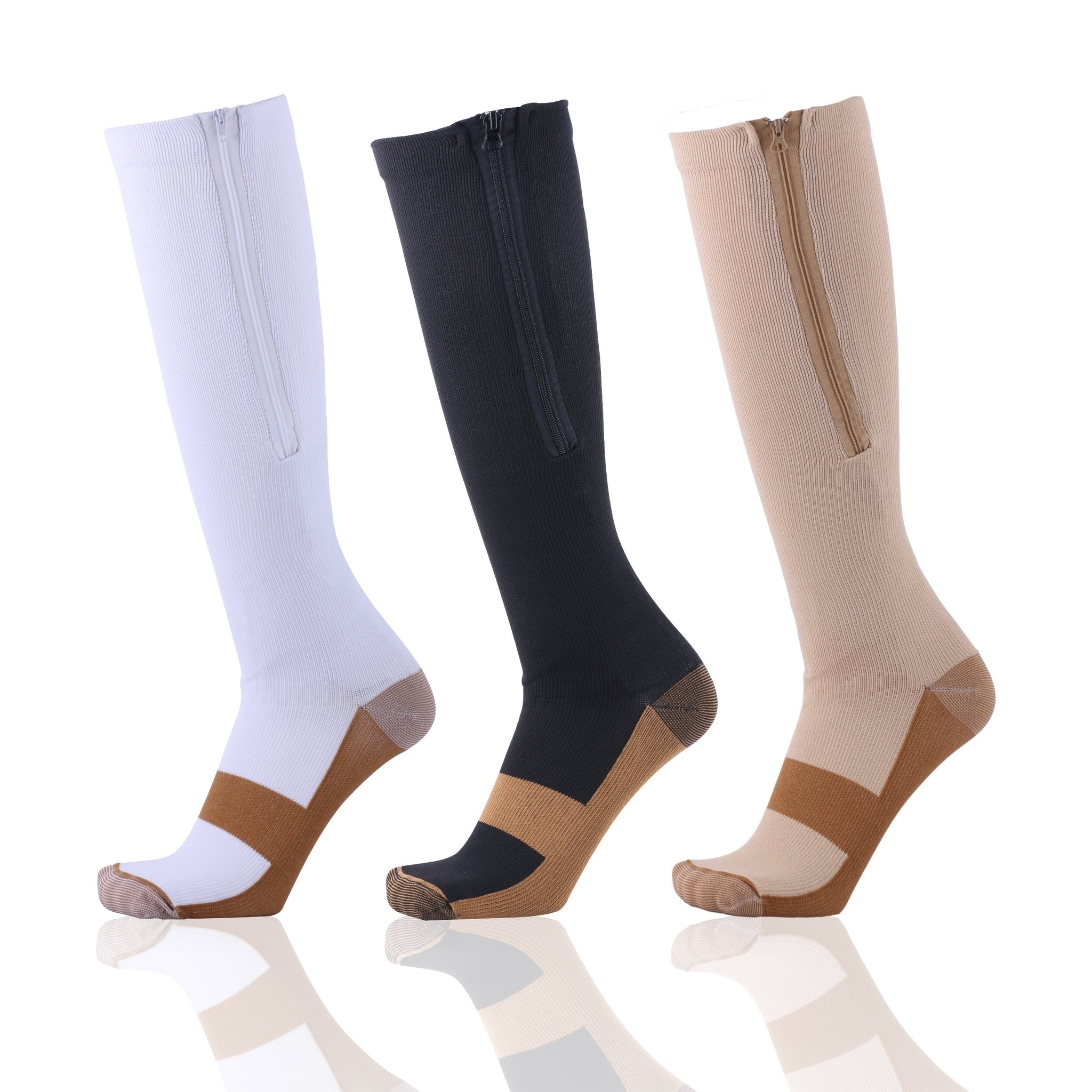3-Pairs: Copper Infused Zipper Compression Socks