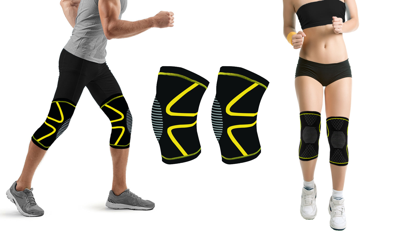 Unisex Knee Compression Support Sleeve with Gel - Pair