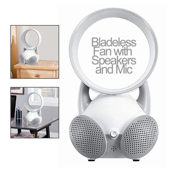 USB Powered Bladeless Fan and Speaker w/ Mic