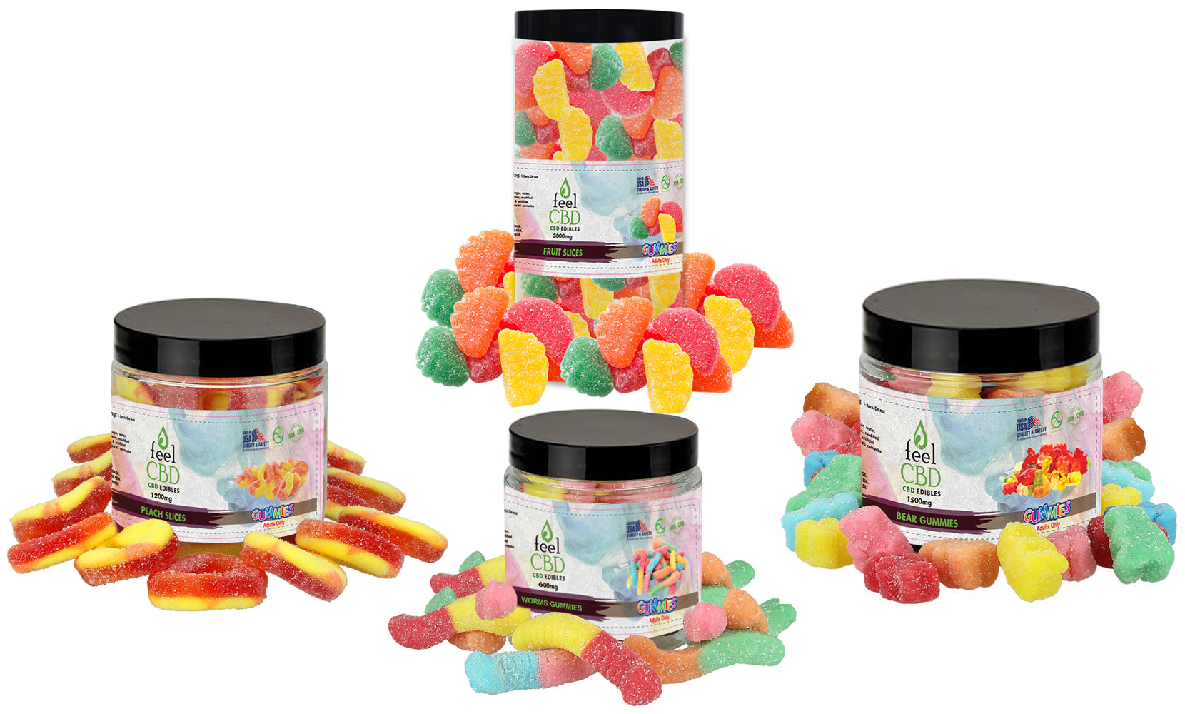 CBD Gummies from feelCBD (600mg, 1200mg, 1500mg and 3000mg )