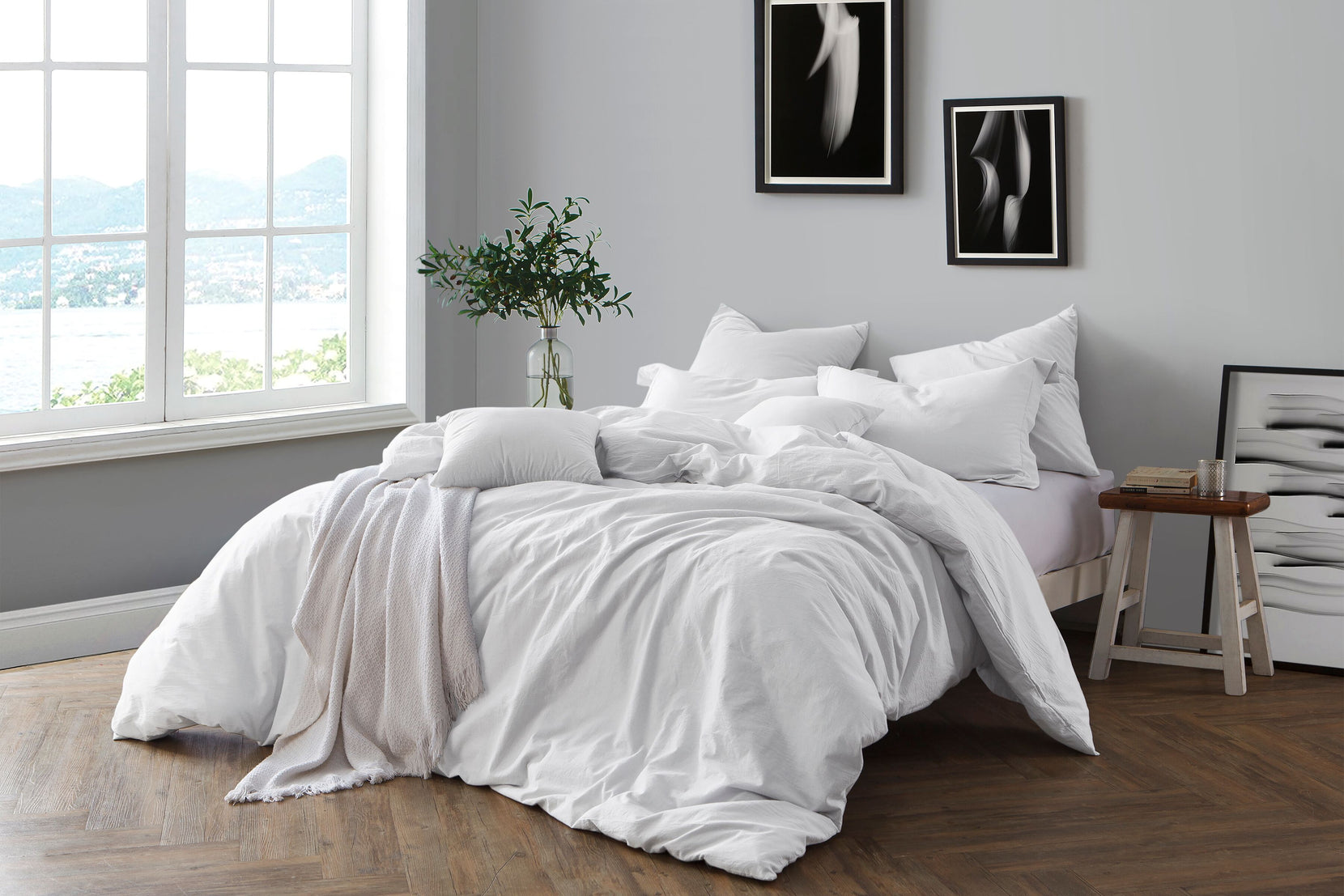 Prewashed Yarn Dye Cotton Chambray Duvet Cover Set