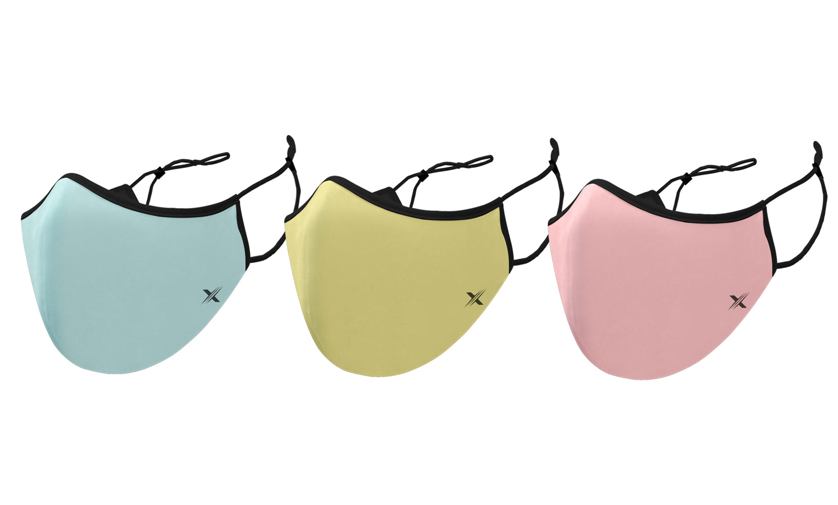Pastel Colors Dual-Layer Reusable Kids Face Mask With Adjustable Earloop (3-Pack)
