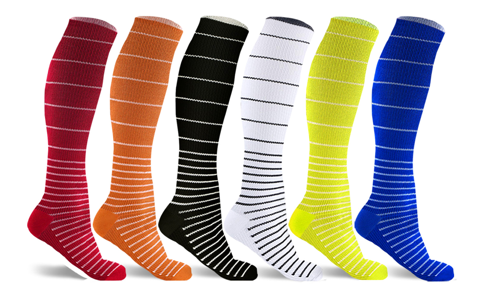 6-Pairs : Unisex Stress Relief Compression Socks