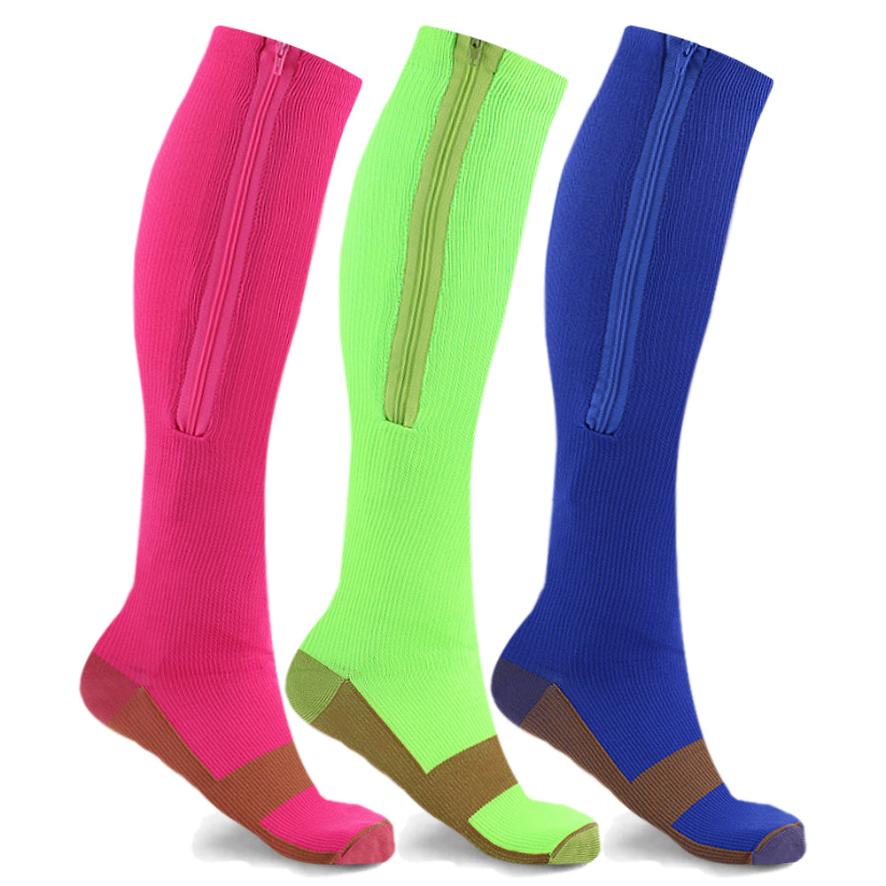 3-Pairs : Women's Copper Infused Zipper Compression Socks