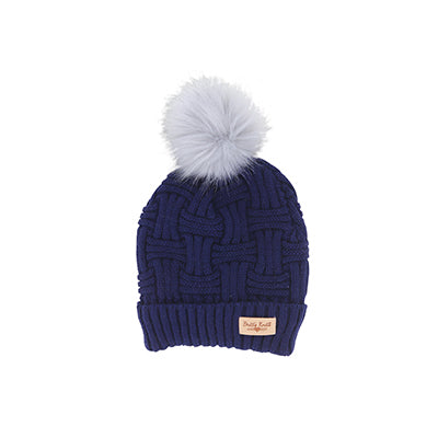 Plush Lined  Knit Hat with Pom