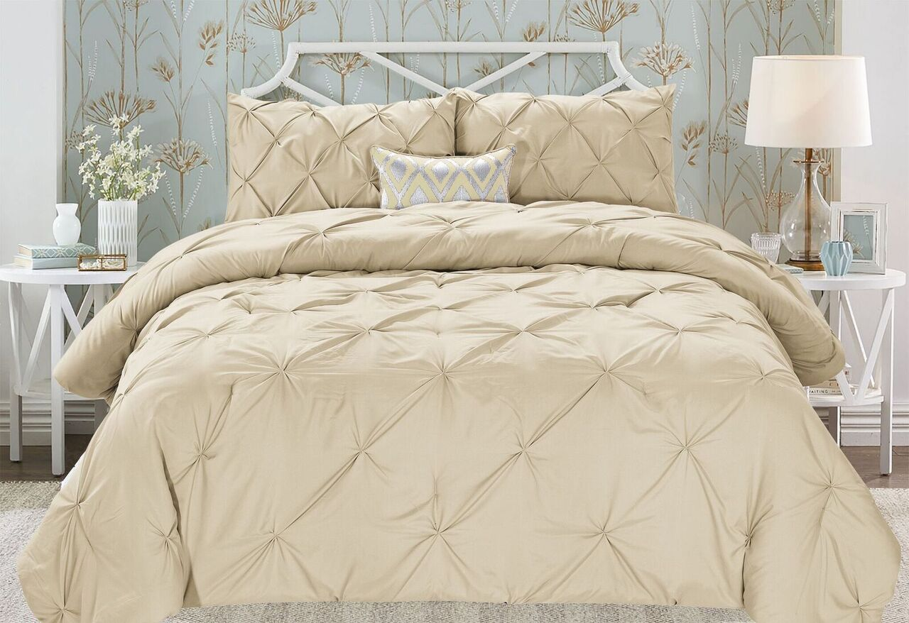 Modern Pinch Pleated Comforter Set (2- or 3-Piece)