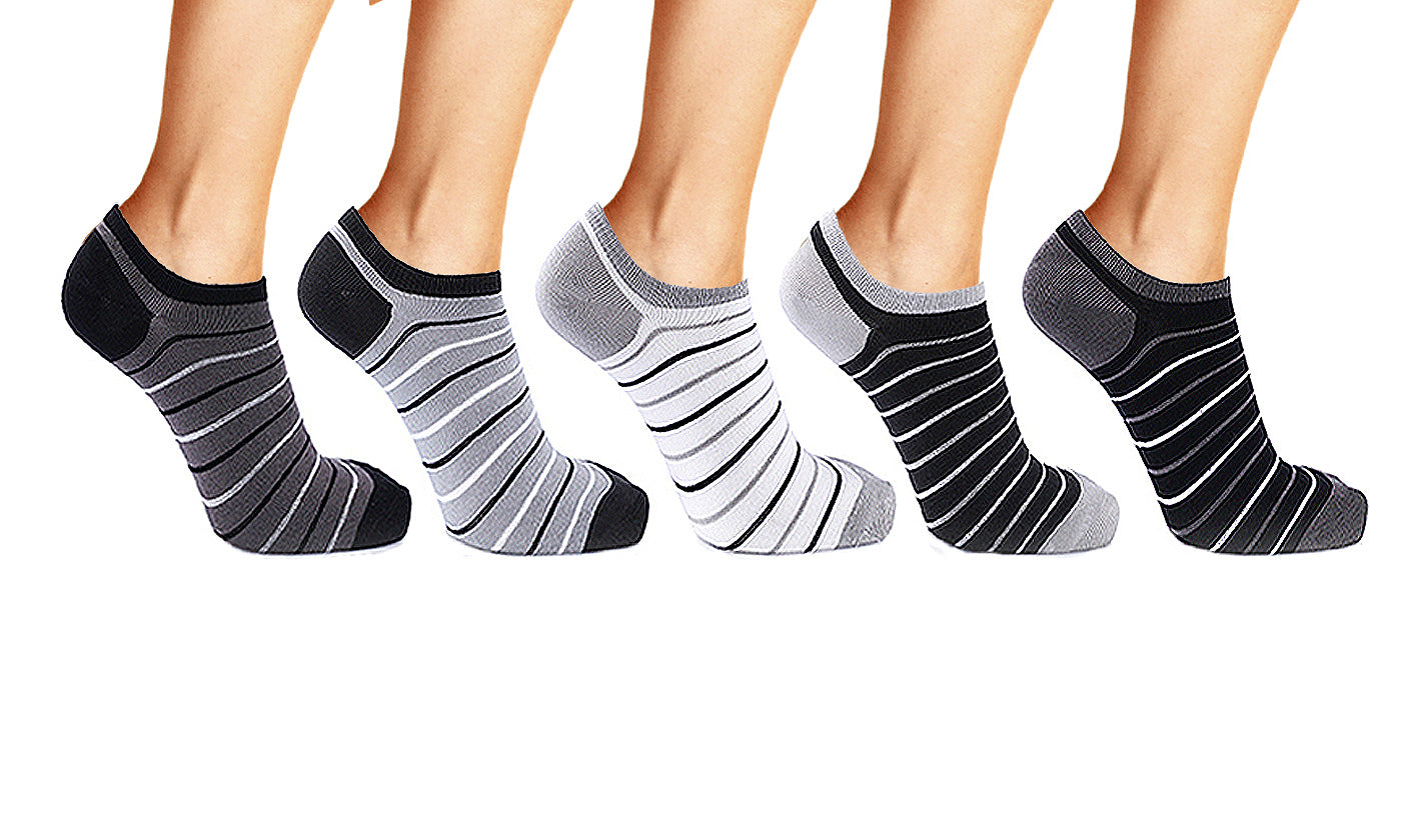 5-Pairs : Unisex Bamboo Charcoal Ankle Socks