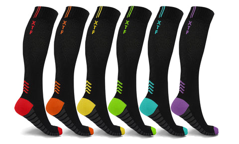 6-Pairs: High Energy Graduated Compression Socks
