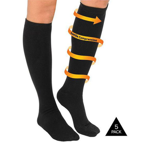 5 Pairs : All Day Relief Compression Socks