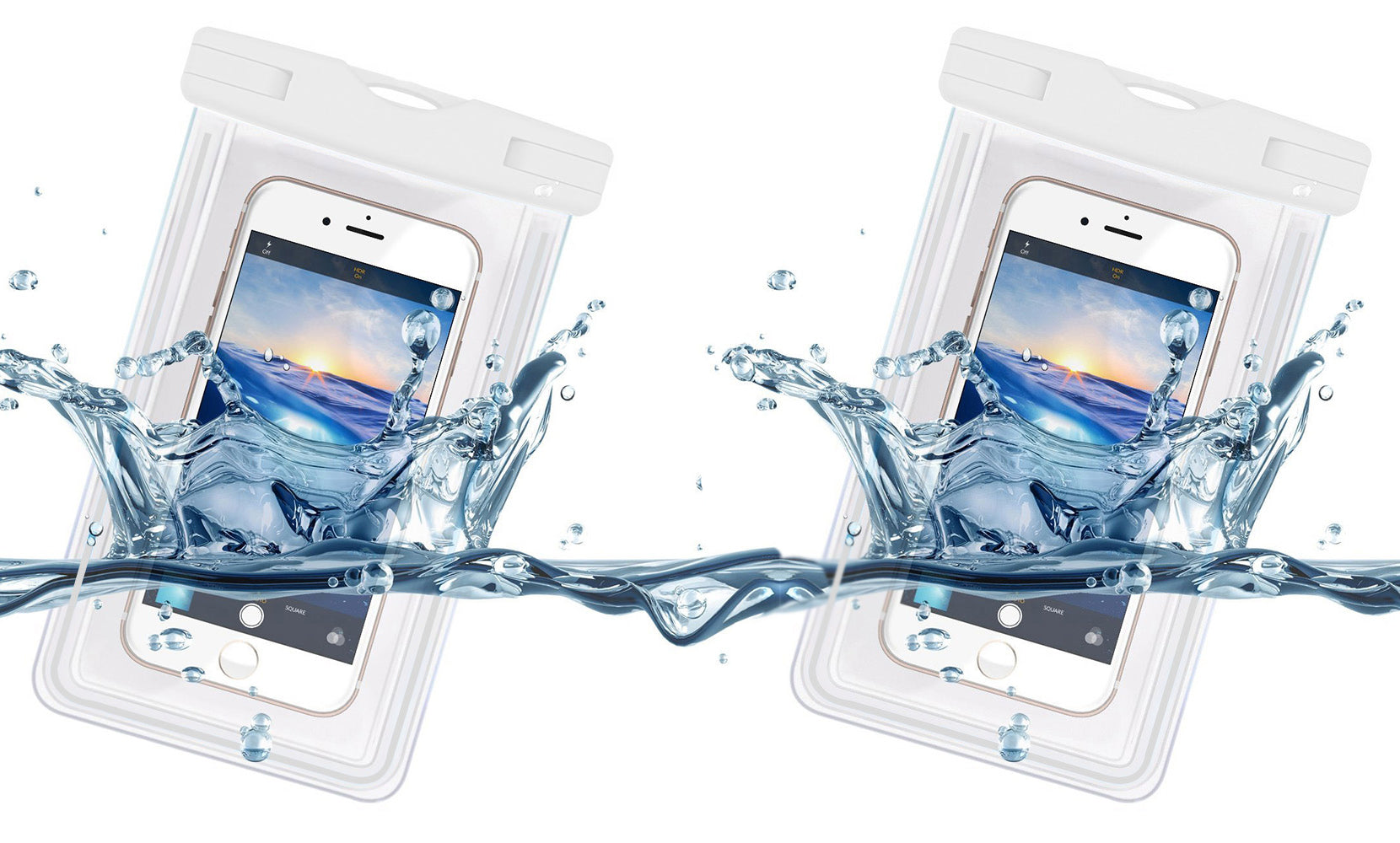 Waterproof Universal Cell Phone Clear Dry Pouch and Case with Lanyard (2-Pack)