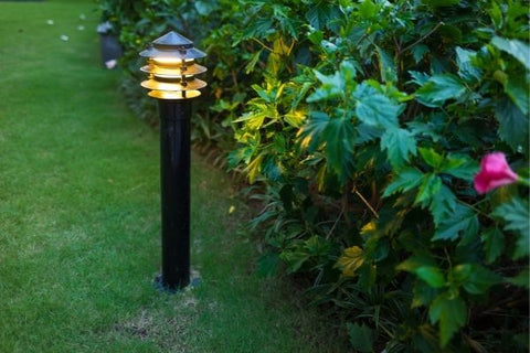 outdoor light erected in a grassy ground near the plants