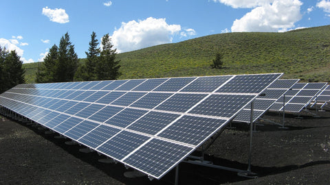 black and silver solar panels in a large field with trees under the sky