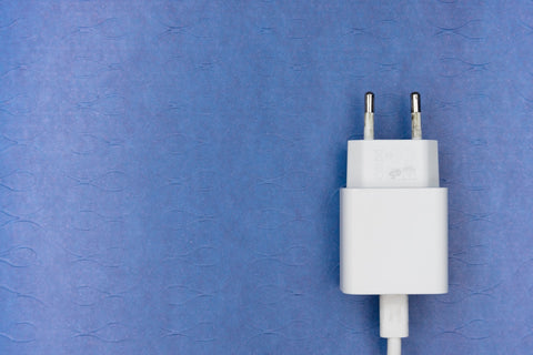 white adapter with blue background