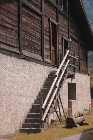 long wooden and brown stair