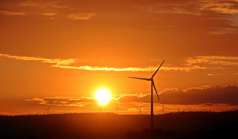 silhouette of wind mills shone by the sun