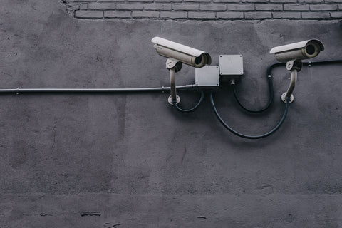 CCTV cameras attached in a wall