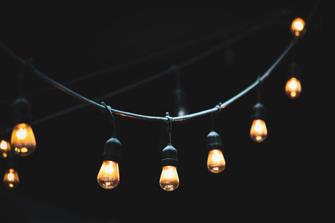 string lights with black background
