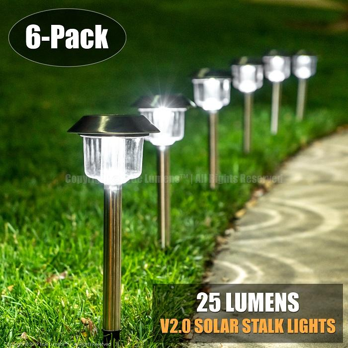 25 Lumens Stalk landscape lights | Stainless Steel | Daylight White (6-Pack) - True Lumens