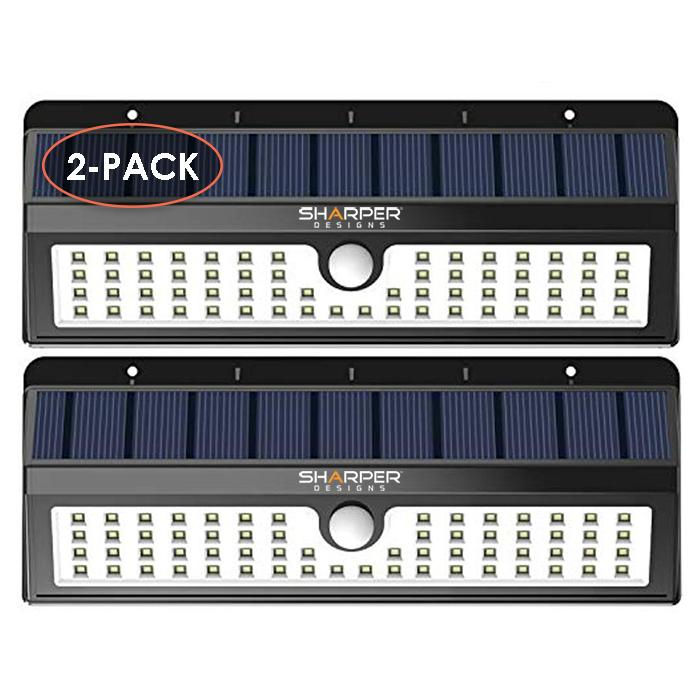 (2-Pack) 62 LED Wall Solar Light Outdoor Security Lighting | Motion Sensor | Super Bright! - True Lumens
