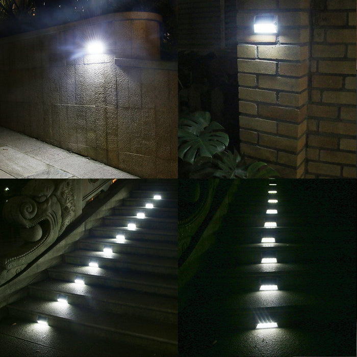 8 LED Solar Stair Step Lights | Dusk To Dawn Auto On/Off | Super