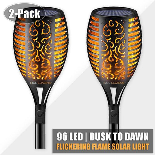 96LED Flickering Flame Solar Light | Dusk to Dawn | 2-Pack - True Lumens