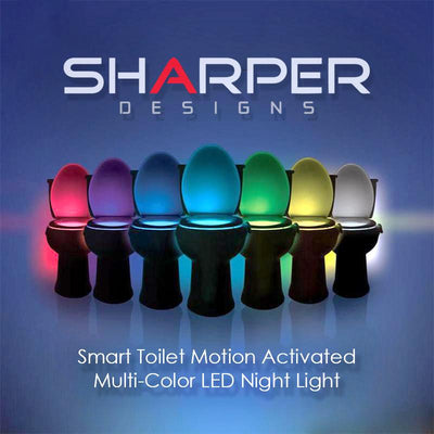 Multi-Color Smart Toilet Motion Activated Night Light - Newest Version - Sharper Designs