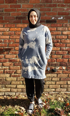 Bleach Dyed Denim Blue Tunic