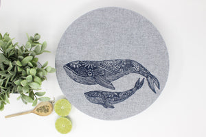 Whale/Striped Fabric Bowl Covers- set of 2