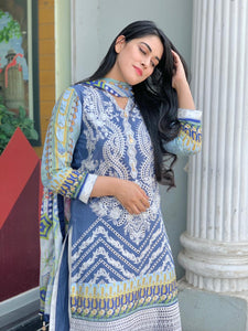Blue and Gold Net 3 Piece Outfit - Arisha Clothing