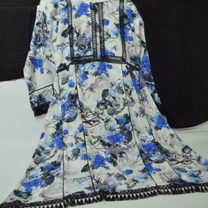 Blue and White 3 Piece Khaddar Outfit - Arisha Clothing