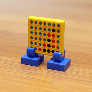 Four in a Row (Yellow) - Custom Printed LEGO 2x2 Tile with Stand