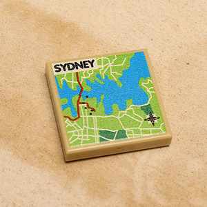 Custom LEGO Sydney, Australia Map (2x2 Tile)