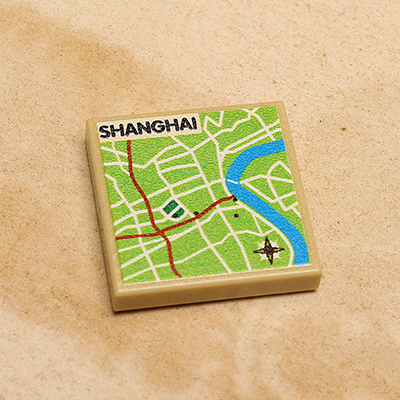 Custom LEGO Shanghai, China Map (2x2 Tile)