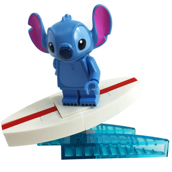 Surf's Up! LEGO Stitch Minifigue with custom LEGO Surfboard
