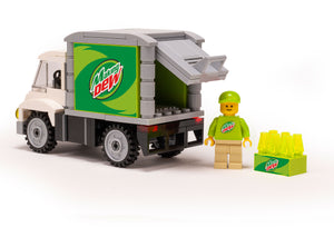 Custom LEGO Making Dew Soda Delivery Truck with Minifigure