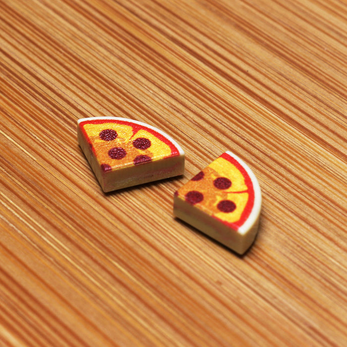 2 Slices of Pepperoni Pizza - Custom LEGO (1x1 Curved Tile)