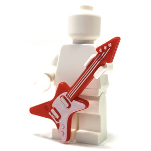 Guitar (Red / White with Silver Strings) - Official LEGO® Part