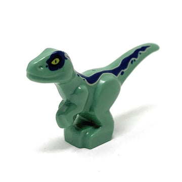 Velocipator (Baby, Sand Green with Blue Markings) - LEGO Jurassic World Dinosaur Minifigure (2018)