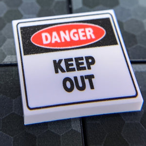 Danger Keep Out Sign - Custom Printed LEGO 2x2 Tile