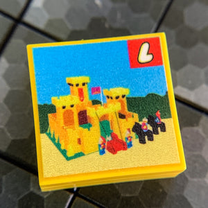 Yellow Castle Set 375 - Custom Printed LEGO 2x2 Tile