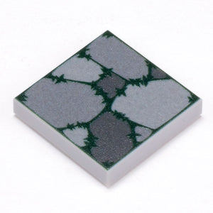 Cobblestone Flooring (Plant Overgrowth) - Custom Printed LEGO 2x2 Tile