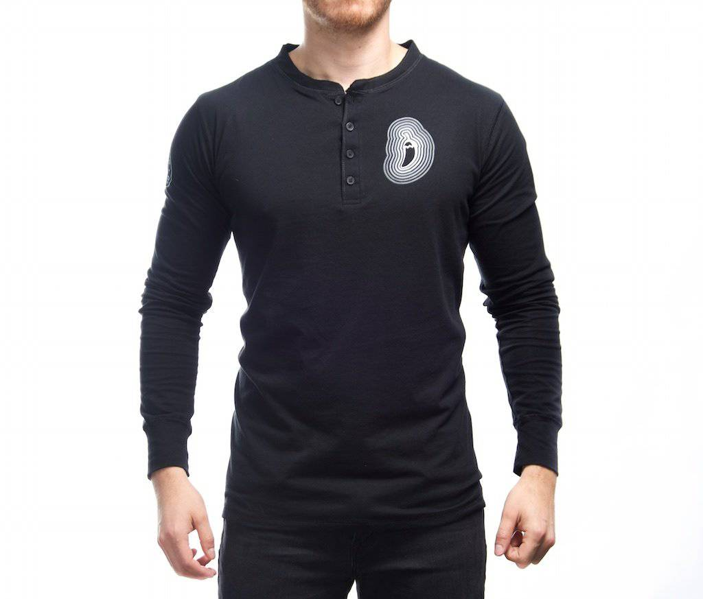 Black & White Long Sleeve Henley Shirt - Bravado Spice