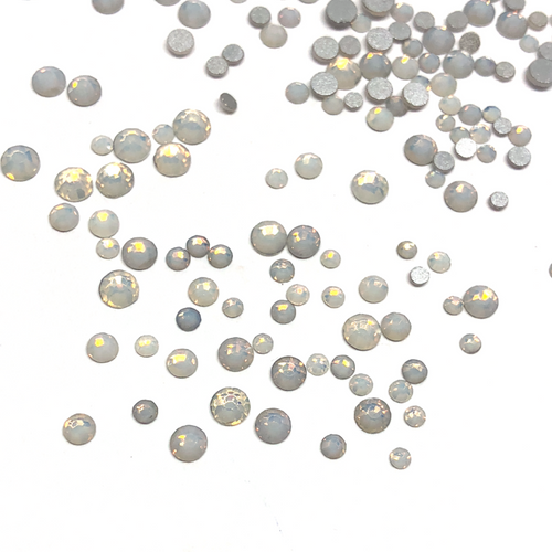 Mixed Sizes White Opal Flatback Crystals  - 300 Crystals