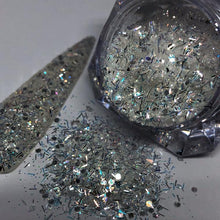 iridescent white nail glitter tinsel mix