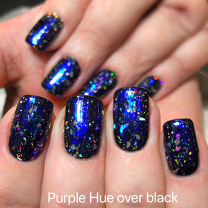 Aurora Galaxy Chrome flakes for nails over black
